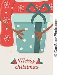 överraskning, firande, gåva, glad jul