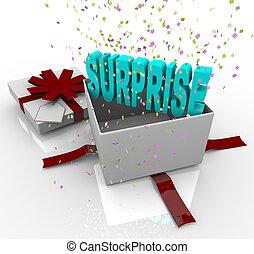överraskning, gåva, -, grattis pa fodelsedagen, gåvan boxas