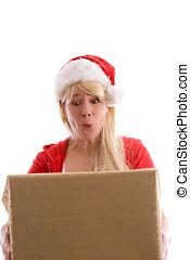 överraskning, jul, lycklig