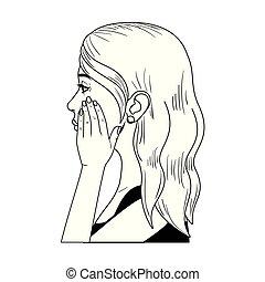 överraskning, kvinna, tecken, avatar, ansikte