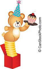 överraskning, teddy, boxas, björn