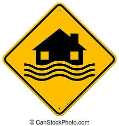 översvämning, katastrof, gul signera