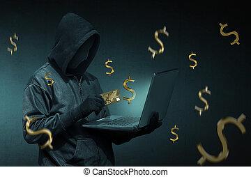 övertäck, hacker, med, kreditkort, stöld, data, från, a, laptop