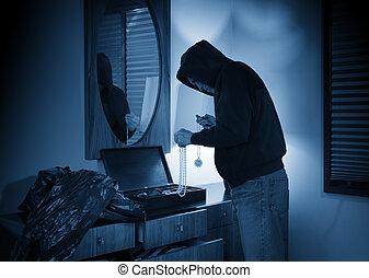 övertäck, hem, inbrottstjuv, tagande, jewelery