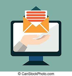 övervaka, e-post, marknadsföra, avskärma, hand, begreppsmässig, vektor, holdingen, brev, email, illustration.