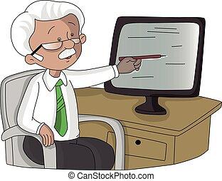 övervaka, pekande, screen., vektor, äldre bemanna