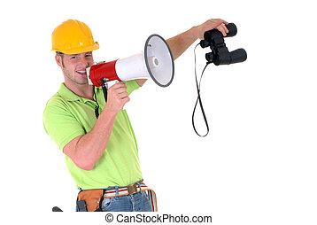 övervakare, med, megafon