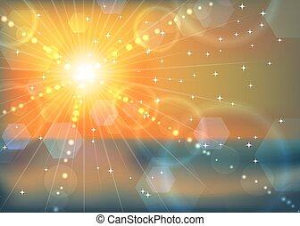 övervintra sunen, abstrakt, bakgrund., solnedgång, ...
