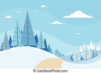 övervintra trees, snö, jul, landskap, skog, fura, bakgrund, veder
