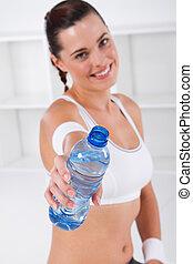övning, kvinna, dricksvatten