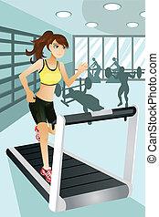 övning, kvinna, gymnastiksal