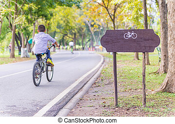övning, med, cykel, in, publik parkera