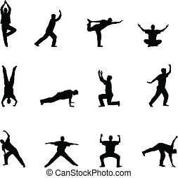 övning, och, yoga, silhouettes