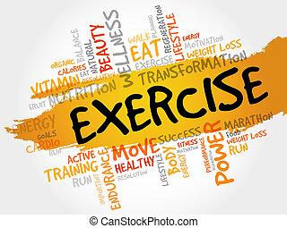 övning, ord, moln, fitness
