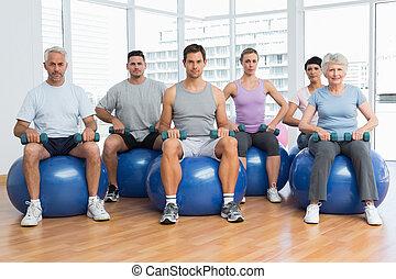 övning, sittande, gymnastiksal, hantlar, klumpa ihop sig, lämplighet kategori