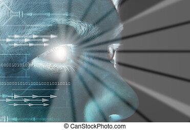 øje, afsøge, iris, biometric
