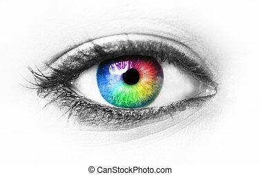 øje, farverig