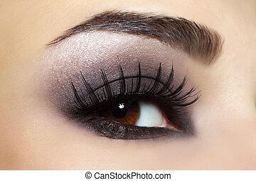 øje, hos, sort, mode, war paint
