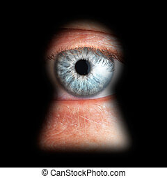 øje, isoleret, nøglehul