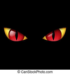 øje, rød, onde
