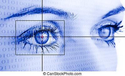 øje, system, garanti, identification.