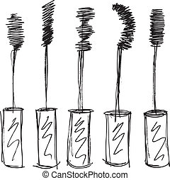 øjenvippe, brush., skitse, vektor, illustration