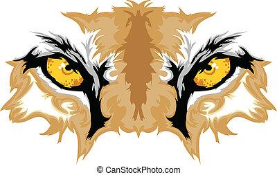 øjne, cougar, mascot, grafik