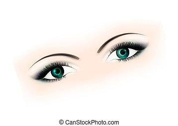 øjne, kvinde, makeup