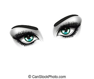 øjne, mode, øje, skønhed, concept., to, baggrund, hvid