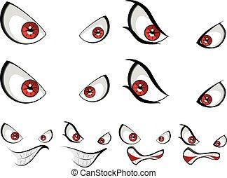 øjne, onde, rød ansigt