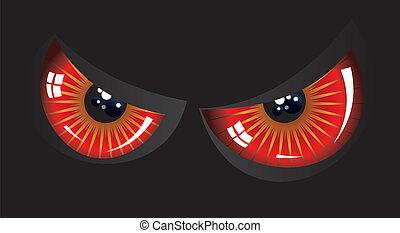 øjne, onde, rød