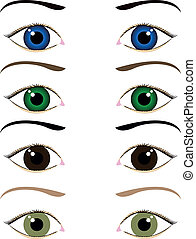 øjne, sæt, cartoon