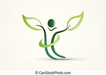 økologi, figur, natur, vektor, sundhed, det leafs, logo