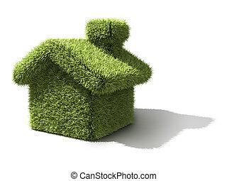 økologi, hus, grønne