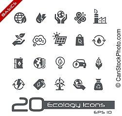 økologi, og, //, iconerne, energi, basics, udskiftelig