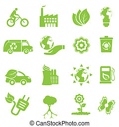 økologi, og, miljø, iconerne