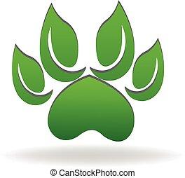 økologi, pote, hund, grønne, det leafs, logo