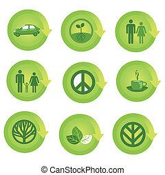 økologiske, sæt, ikon pil