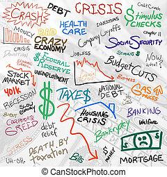 økonomi, doodles