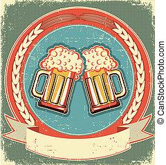 øl, etikette, sæt, på, gamle, avis, texture.vintage, baggrund