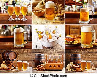 øl glas, collage