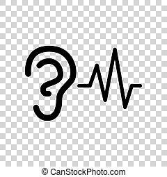 øre, afhøring, lyd, tegn., sort, ikon, på, transparent,...