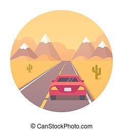ørken, hovedkanalen, illustration