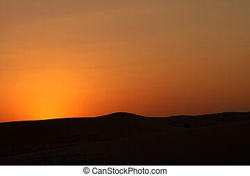 ørken, solnedgang