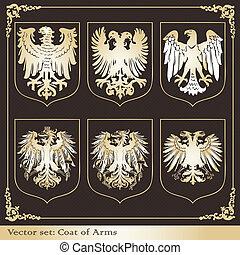 ørn, heraldiske, arme, belægge