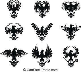 ørn, heraldiske, sæt, arme, belægge