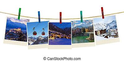 østrig, bjerge, ski, fotografi, på, tøjklemmer