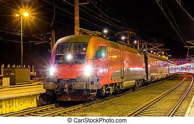 østrigsk, high-speed tog, hos, feldkirch, station