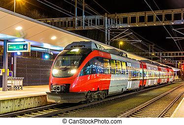 østrigsk, lokale, tog, hos, feldkirch, station