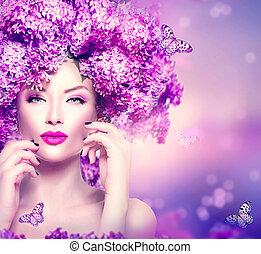 účes, móda, kráska, šeřík, vzor, květiny, děvče